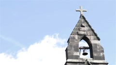 Bell Tower Against Blue Sky Fluffy Clouds - Beautiful Light Over Old Countryside Stock Footage
