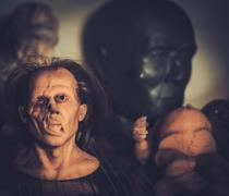 Masks and dummies on a shelf in prosthetic special fx workshop - stock photo
