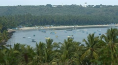 4K shot of Coastline in Goa with Palm Trees & Boats 01 Stock Footage
