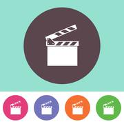 Vector clapperboard icon - stock illustration