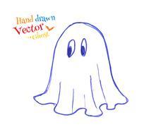 Felt pen childlike drawing of cute ghost - stock illustration