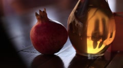 Pomegranate wine in repelling people kiss Stock Footage