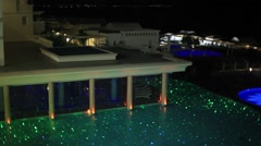 Leisure pool night romance Stock Footage