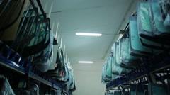 Warehouse storage of auto-glass Stock Footage
