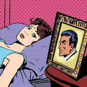 Woman in bed photo men wife husband pop art comics retro style H Stock Illustration