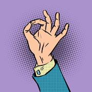 Gesture sign okay pop art comics retro style Halftone Stock Illustration
