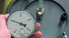 leak check on the pressure gauge protective suit, chemical, biological protec - stock footage