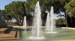 Garden fountain spraying water Stock Footage