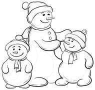 Snowmens mother and children, contours Stock Illustration