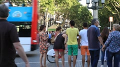 Stock Video Footage of BARCELONA.SPAIN-2013: People walking  down the La Rambla street