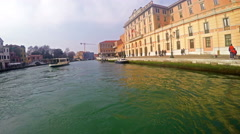 Tourists POV to Canal Grande and vaporetto water bus transportation Stock Footage