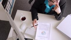 Stress at  Working with the Documents Stock Footage