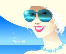 Girl wearing sunglasses Stock Illustration