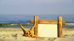 Frame and starfish on a sea background Stock Footage