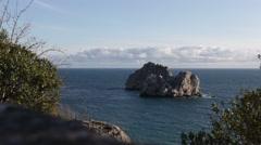 Crimea, Russia- 2012: Adalari Rocks in the Black sea Stock Footage
