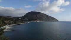 Crimea, Russia- 2012: Bear Mountain (Au-dag) and the coastline Stock Footage