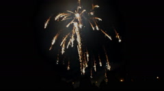 People watching fireworks at night Stock Footage