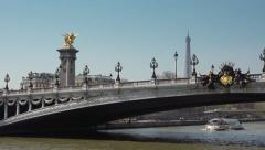 Seine river cruise Pont Alexandre III Eiffel Tower - Time lapse Stock Footage