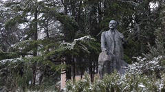 CRIMEA.RUSSIA-2012: Snow in Gurzuf. Yalta. Monument of Lenin Stock Footage
