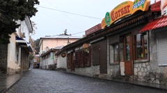 CRIMEA.RUSSIA-2012: Gurzuf. Snow town Stock Footage