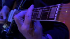 Guitar playing and changing colors Stock Footage