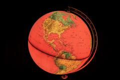 red world globe with closeup on North and Central America - stock photo