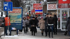 CRIMEA.RUSSIA-2012:People and road Stock Footage