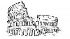 Colosseum hand draw Stock Footage
