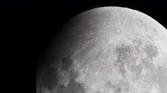 Moon Lunar Eclipse Real Time via telescope 3 Top of the Moon Stock Footage