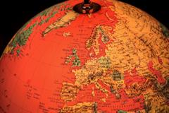 Europe on world globe illuminated from within Stock Photos