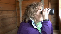 Female Birdwatching Stock Footage