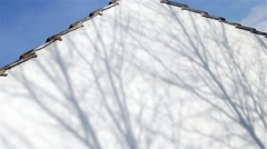 Silhouette Shadow of Tree Branches Gently Sway on White Garage Close Up Stock Footage