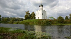 Church of Intercession of  Holy Virgin on the Nerl River, Bogolubovo Stock Footage