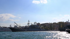 Ships of the Russian navy stand on the anchor parking in the Southern bay Stock Footage