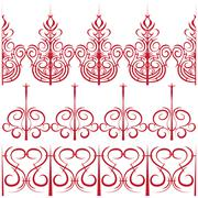 elements for design. Set of borders in the form of a fence - stock illustration