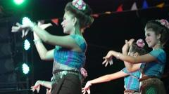 Traditional and popular dance at Songkran,Ubon Ratchathani,Thailand Stock Footage
