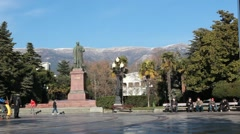 CRIMEA.RUSSIA-2012: Yalta Embankment. Handheld shooting. Stock Footage