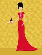 Stock Illustration of beautiful Asian girl enjoy sushi