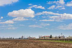 Agricultural Landscape with farm - stock photo