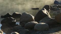Misty lake at sunrise Stock Footage