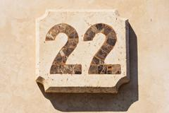 Image of the house number 22 Stock Photos