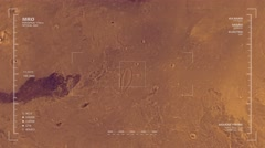 Flyover of Mars at approximate longitude of 180 degrees - stock footage
