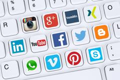 Social media icons like Facebook, YouTube, Twitter, Xing, Whatsapp and Skype Stock Photos