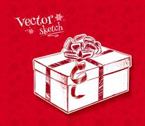 Vintage sketch of gift box Stock Illustration