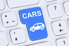 Selling or buying a car online button on the computer - stock photo