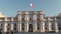 Exterior of the La Moneda Presidential palace in Santiago, Chile. Stock Footage