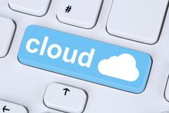 Symbol cloud computing online on internet cyberspace Stock Photos