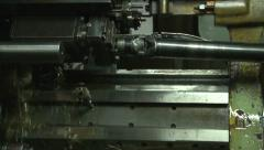 Lathe in metal industry work on production of metal elements. Liquid. Tilt down. Stock Footage