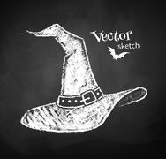 Chalkboard drawing of witches hat - stock illustration