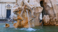 Stock Video Footage of Four Rivers Fountain with obelisk - Piazza Navona - Rome 020  UltraHD 4K+